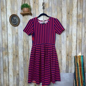 Lularoe 'Amelia' Blue & Red Striped Dress